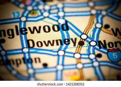 Downey. California. USA on a map