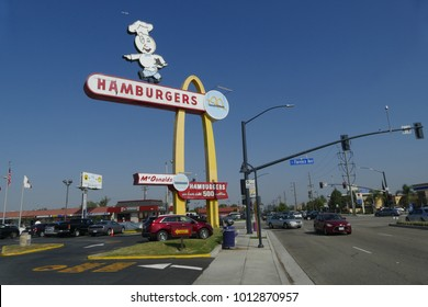 DOWNEY, LOS ANGELES, CALIFORNIA, USA - OCTOBER 28, 2017: Original sign of the oldest operating McDonald's restaurant in the world.