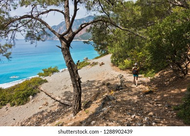 Downhill to Agios Pavlos beach from e4 trail between Loutro and Agia Roumeli at south-west od Crete island, Greece