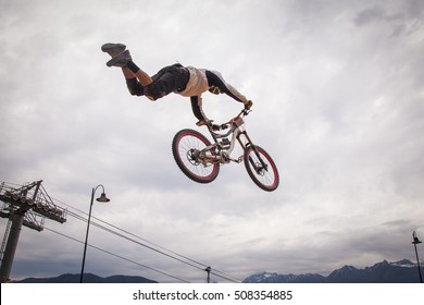 Downhill biking. MTB. Jump on a mountain bike.
