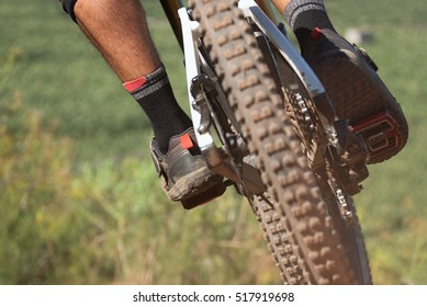 Downhill mountain bike,man cyclist to riding a bicycle,view from behind