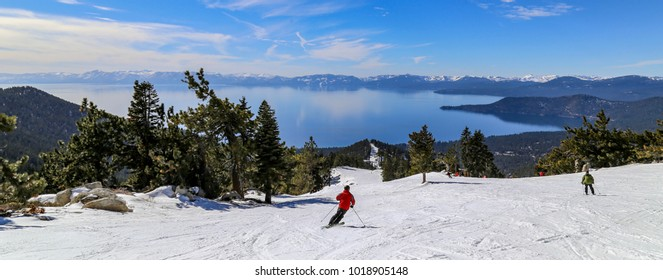 Downhill skiing above Lake Tahoe