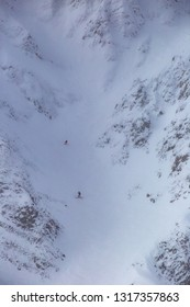 Downhill skiing in the Big Couloir on Lone Peak, Big Sky, Montana