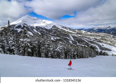 Downhill skiing in Big Sky, Montana