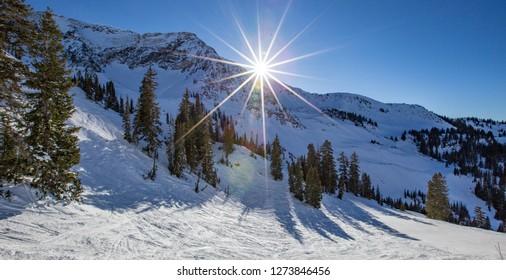 downhill skiing in Little Cottonwood Canyon in Salt Lake City, Utah