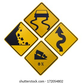 Downhill , slippery road , rock avalanches , maze , traffic Signs on white background