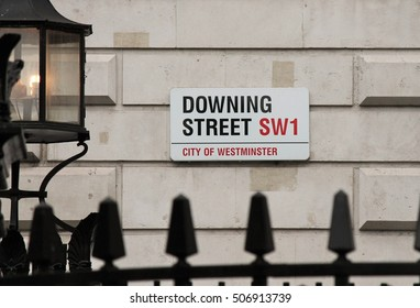 DOWNING STREET, LONDON, UK - MARCH 9TH 2019: Downing Street (number 10 is home to the British Prime Minister) Boris Johnson - Westminster London stock, photo, photograph