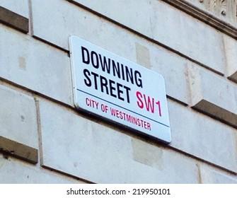 DOWNING STREET, LONDON, UK - September 11 2014: Boris Johnson residence Downing Street's sign in Westminster, London, England. No 10 for Prime minister- coronavirus brexit