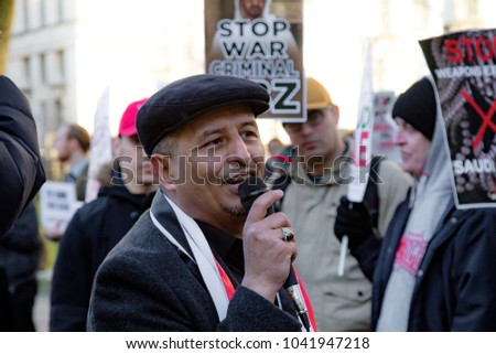 Downing Street, London, United Kingdom, 07th March 2018:- Unknown Protester addresses the crowd outside Downing Street against the visit to the UK by the crown prince of Saudi Arabia