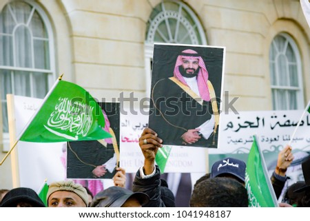 Downing Street, London, United Kingdom, 07th March 2018:- Pro Saudi Arabia protesters counter protest the Stop The War Coalition protest against the visit to the UK by the Crown Prince