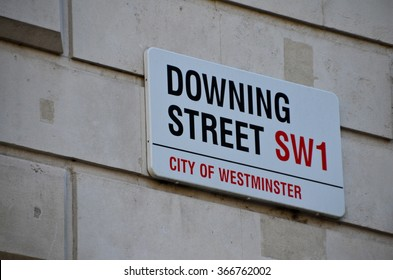 Downing Street's sign in Westminster. Downing St. has housed government leaders for over three hundred years.