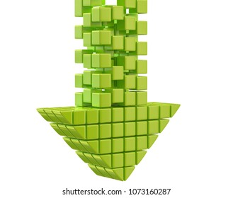 Download arrow consist from green glossy cubes isolated on white 3d illustration
