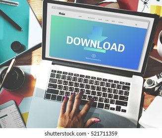 Download Files Transfer Sharing Social Networking Concept