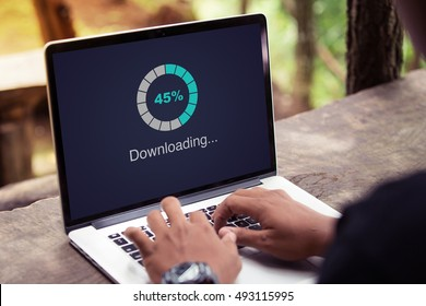 Download processing data on laptop with internet