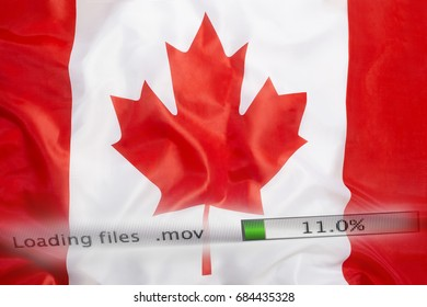 Downloading files on a computer with Canada flag