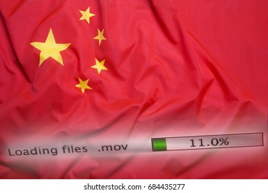 Downloading files on a computer with China flag
