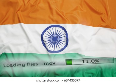 Downloading files on a computer with India flag