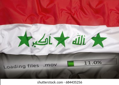 Downloading files on a computer with Iraq flag