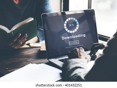 Downloading Online Website Technology Concept