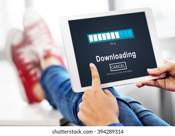 Downloading Transfering Network Information Technology Concept
