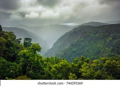 A downpour rain on lush rain-forest mountains in cairns Australia