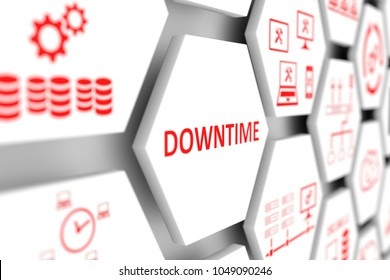 DOWNTIME concept cell blurred background 3d illustration