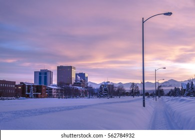 Downtown Anchorage Alaska from Delaney Park Strip