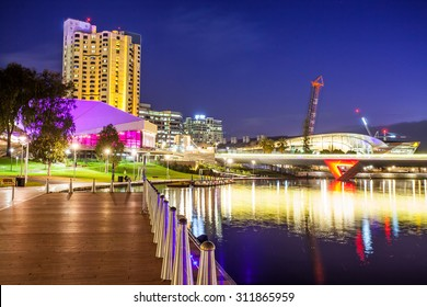 Downtown area of Adelaide city in Australia at night