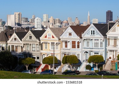 The Downtown area of San Francisco from Alamo Square Park at sunset. In California, USA