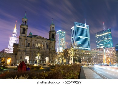 downtown area in Warsaw at night, Poland