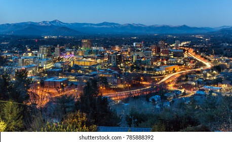 Downtown Asheville, NC at dawn in January 2018.