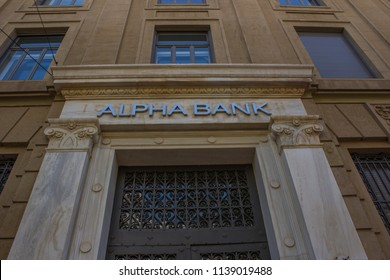 Downtown Athens 17/7/2018 Alpha bank  branch old fashioned  building in downtown Athens