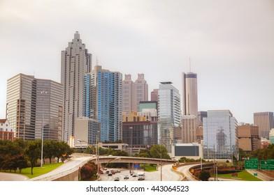 Downtown Atlanta, Georgia on a cloudy day