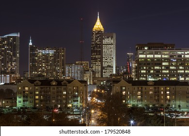 Downtown Atlanta night view from midtown.