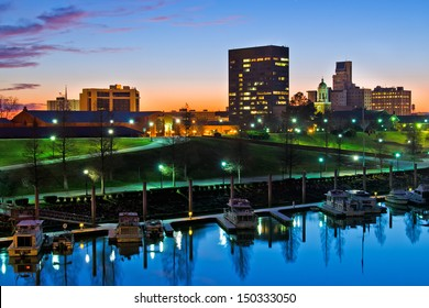 Downtown Augusta, Georgia, along the Savannah River at night just after sunset