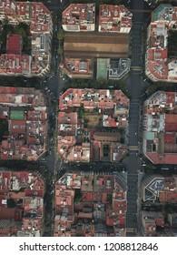 Downtown Barcelona drone