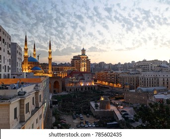 Downtown Beirut, Lebanon: the city center at twilight showing religious diversity and tolerance with mosques and churches side by side.