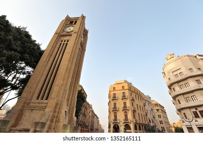 Downtown Beirut looking up in Nijmeh Square