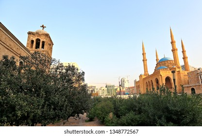 Downtown Beirut looking up the skyline showing image of coexistence