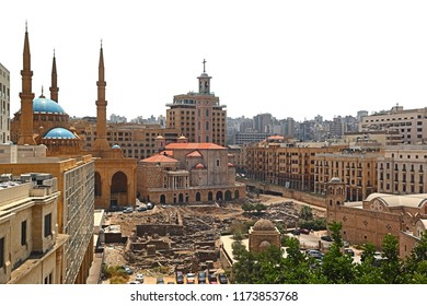 Downtown Beirut Skyline on a white background