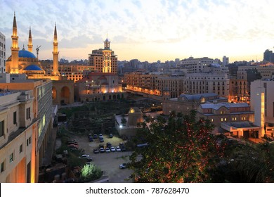 Downtown Beirut Skyline at Sunset.
