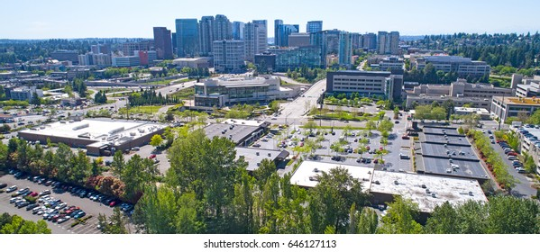 Downtown Bellevue, Washington USA Aerial Shot Skyscrapers