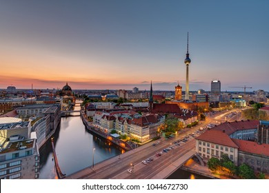 Downtown Berlin with the famous Television Tower after sunset