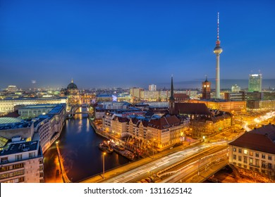 Downtown Berlin with the famous Television Tower at night
