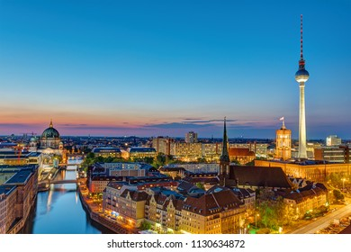 Downtown Berlin at night with the TV Tower, the cathedral and the town hall