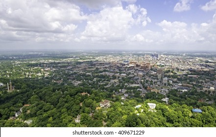 Downtown Birmingham Alabama from helicopter.