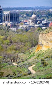 downtown Boise, Idaho and the Boise Foothills