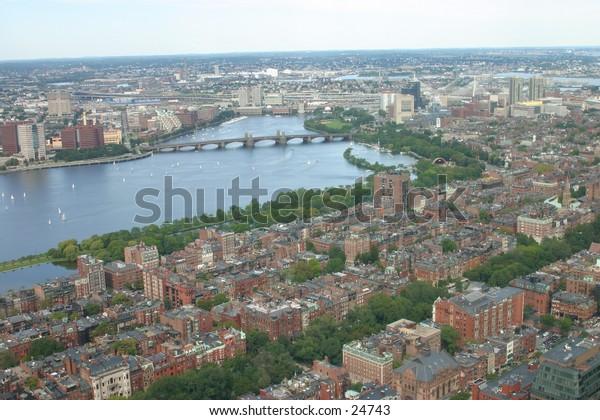 Downtown Boston aerial view