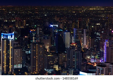 Downtown and business district in bangkok at night