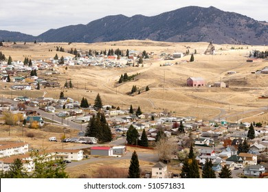 Downtown Butte Montana with winter setting in